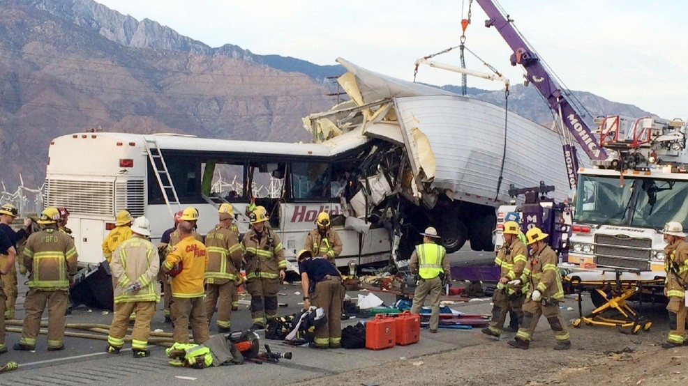 Tour bus after accident