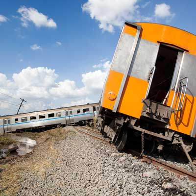 Derailed train accident