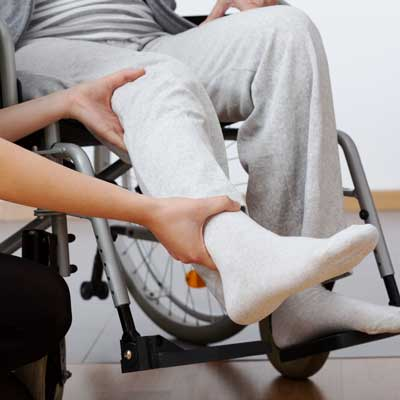 Person in a wheelchair with ankle injury