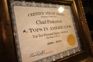 Certificate of Merit Presented to Chad Pinkerton Tops In America's