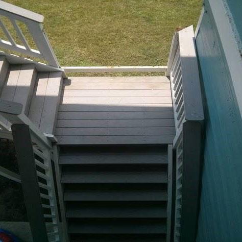 Broken staircase railing