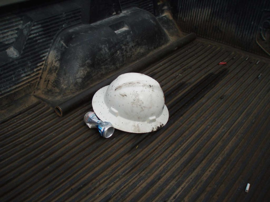 Hard hat in truck bed