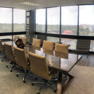 Pinkerton conference room with windows overlooking houston